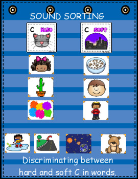 Hard and Soft C ~ Pocket Chart Sort with Matching Word Cards