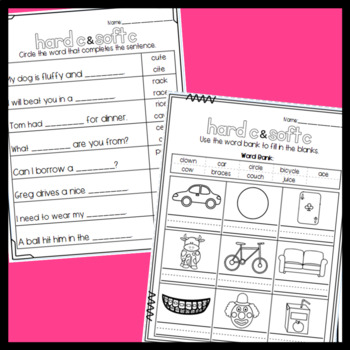 Hard and Soft C Worksheets: Cut and Paste Sorts, Cloze, Read and Draw and more!