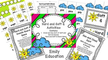 Hard and Soft G Activities and Centers that are Sun and Cloud Themed