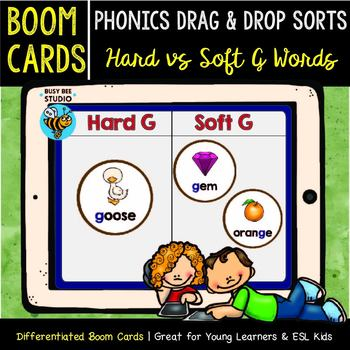 Hard and Soft G | Boom Cards | Phonics Drag and Drop Sorts