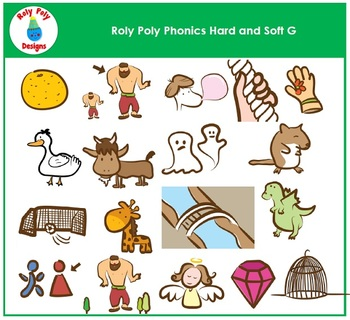 Hard and Soft G Phonics Clip Art by Roly Poly Designs