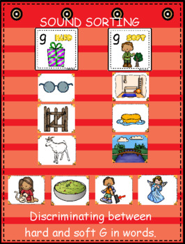 Hard and Soft G ~ Pocket Chart Sort with Matching Word Cards