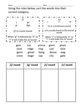 Hard and Soft G and C Worksheet