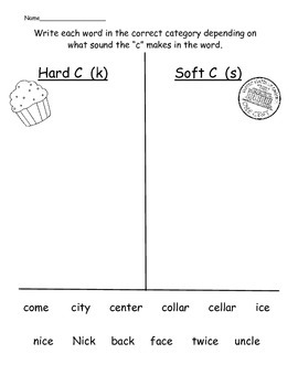 Hard and Soft G and C worksheets
