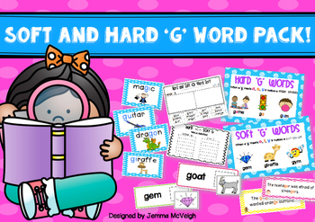 Hard and Soft G sound Word Work PACK ~ Miss Mac Attack ~