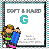 Hard G and Soft G Phonics, posters, worksheets, common core aligned