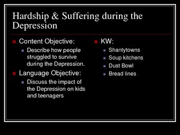 Hardship & Suffering during the Depression