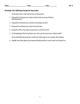 Hardship and Suffering During the Depression - (Quiz or Study Guide)