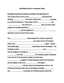 Hardships found in Jamestown Notes