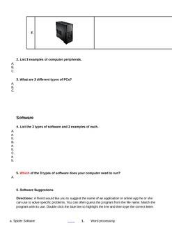 Hardware / Software Identification Worksheet