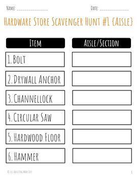 Hardware Store Scavenger Hunt with Visuals - Life Skills Shopping CBI