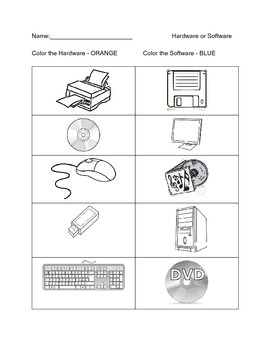 Color the Hardware and Software Worksheet