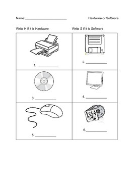 Is it Hardware or Software Worksheet (16 Items)