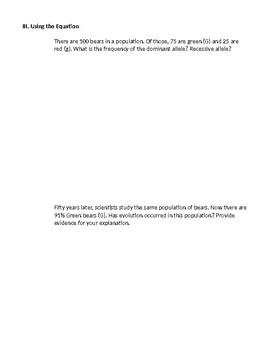 Hardy-Weinberg Equation, PTC Taste Test, and Practice Problems Bundle