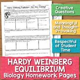 Hardy Weinberg Equilibrium Biology Homework Worksheet