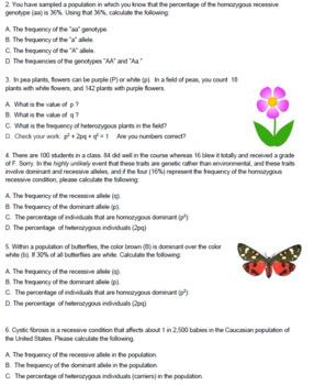 Hardy Weinberg Problem Set (KEY) by Biologycorner | TpT