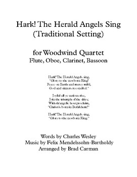 Hark! The Herald Angels Sing for Woodwind Quartet