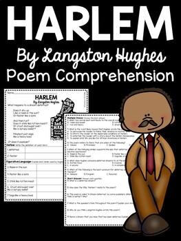 Harlem A Dream Deferred by Langston Hughes Poem Reading Comprehension Worksheet