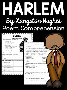 harlem a dream deferred by langston hughes poem reading comprehension worksheet. Black Bedroom Furniture Sets. Home Design Ideas