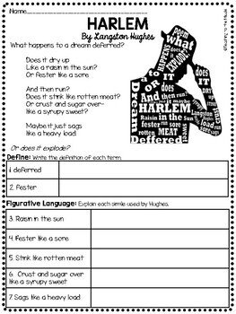 Harlem A Dream Deferred by Langston Hughes Poem Reading Comprehension Worksheet