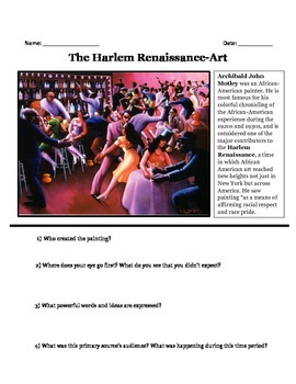 Harlem Renaissance Bundle-Unit Worksheets