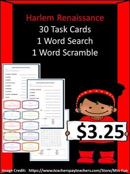 Harlem Renaissance Bundle - 30 Task Cards, 1 Word Scramble ...