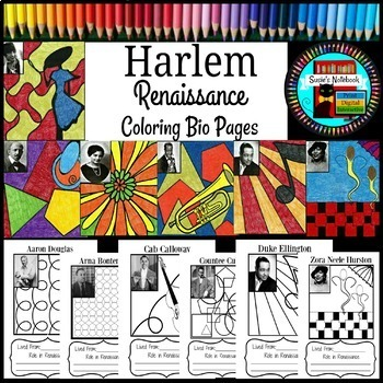 Harlem Renaissance Coloring Sheets and Research Activity by Susie\'s ...