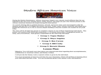 Harlem Renaissance Comparison Project: Modern African American Voices