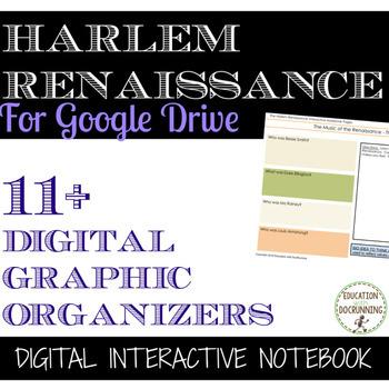 Harlem Renaissance Digital Interactive Notebook Graphic Organizers