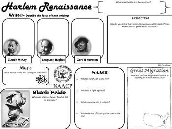Harlem Renaissance Graphic Organzier | TpT