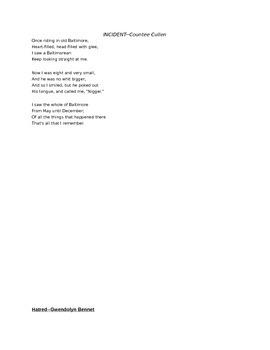 Harlem Renaissance Poems and Notes