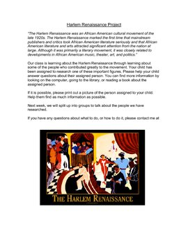 Harlem Renaissance Project by tross86 | Teachers Pay Teachers