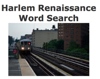 Harlem Renaissance Word Search by Curtis Sensei | TpT