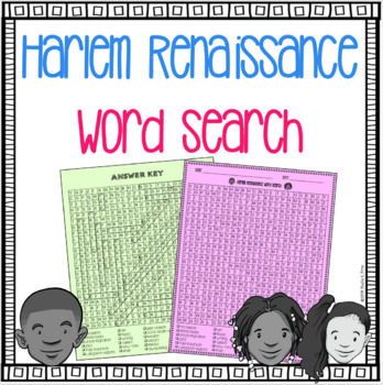 Harlem Renaissance Word Search - Bell Ringer, Vocabulary, Homework, Fun Activity