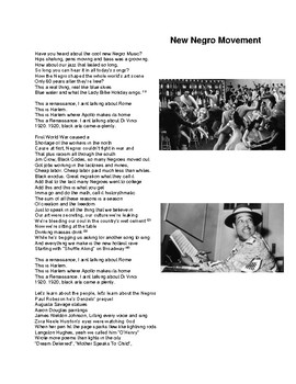 Harlem Rennaisance Song Lyrics