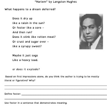 Harlem by Langston Hughes Worksheet