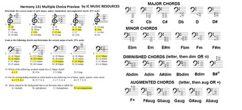 Harmonic Chords and Intervals- 131 Multiple Choice & 140 F
