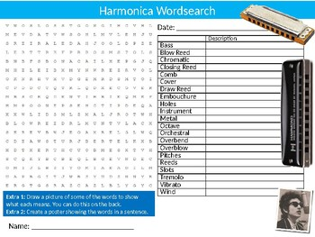 Harmonica Wordsearch Puzzle Sheet Keywords Music Instruments