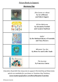 Harmony Day - A Picture Book List - 10 Picture Books To Support