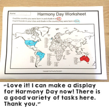 harmony day activities cultural diversity classroom wall display and worksheets. Black Bedroom Furniture Sets. Home Design Ideas