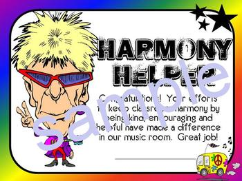 Harmony Helper Certificate-Recognize Good Character in Music Class!