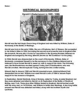 Harold II Biography Article and (3) Assignments