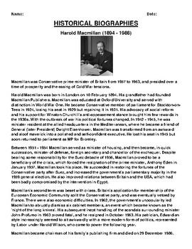 Harold Macmillan  Biography Article and (3) Assignments