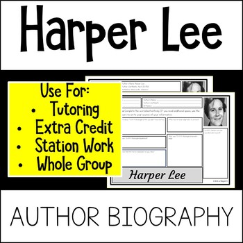 Harper Lee Author Study Activity, Biography Worksheet WITH ANSWER KEY!