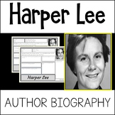 Harper Lee Author Study Activity, Biography Worksheet WITH