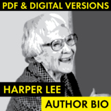Harper Lee Author Study Worksheet, Easy Biography Activity, CCSS