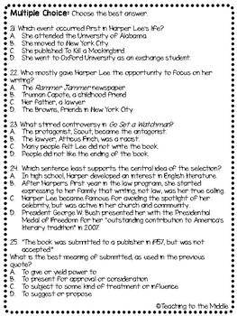 Harper Lee Biography Reading Comprehension Worksheet, To Kill a Mockingbird