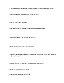 Harper Lee: From Mockingbird to Watchman Student Questions