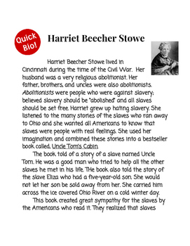Harriet Beecher Stowe Reading Passage with Questions