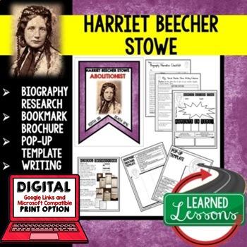 Harriet Beecher Stowe Biography Research, Bookmark Brochure, Pop-Up, Writing